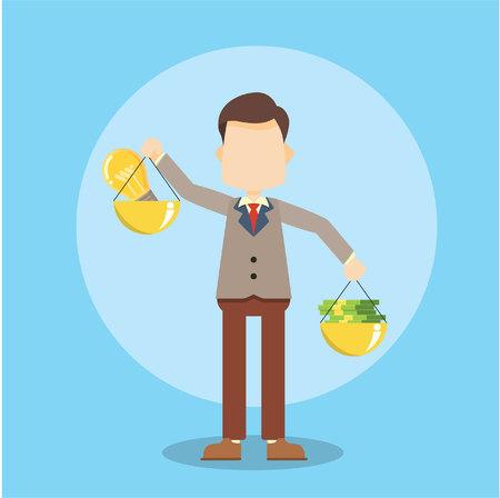 businessman carrying a balance scale money and bulb idea Vektorové ilustrace