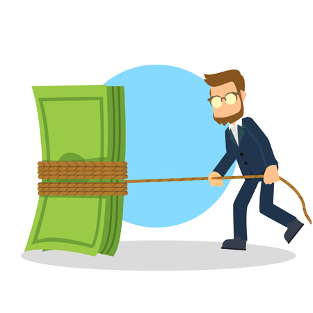 tightening: businessman tightening the budget Illustration