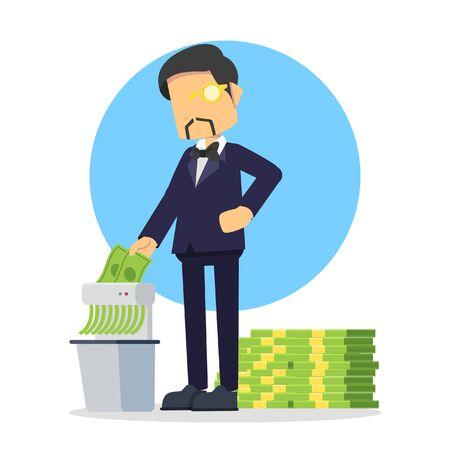 rich businessman shredding money Illustration