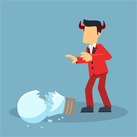 misbehave: evil businessman breaks idea bulb