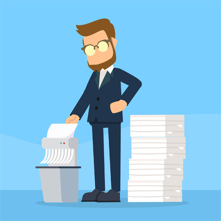 businessman shredding old files Illustration