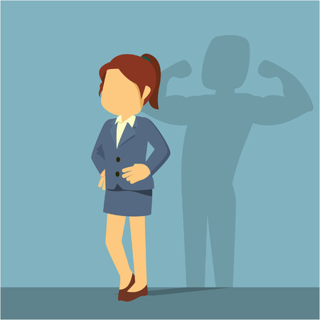 businesswoman with muscular foreshadow Illustration