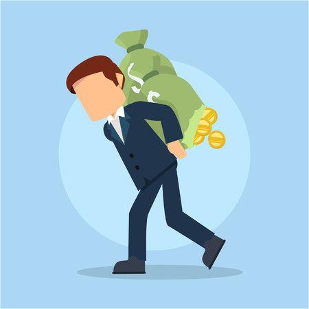 money sack: businessman carrying damaged money sack