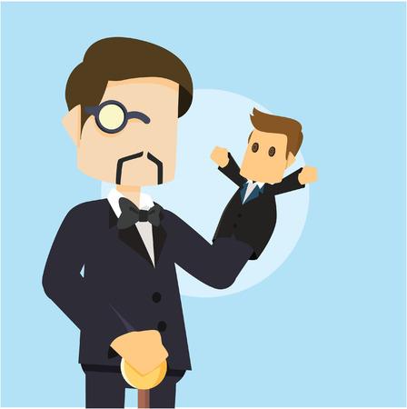 puppet: boss playing business man puppet