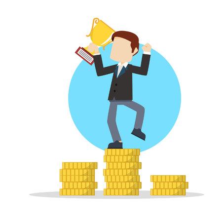 winning money: businessman winning money with trophy Illustration