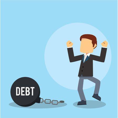 businessman free from debt chain Illustration