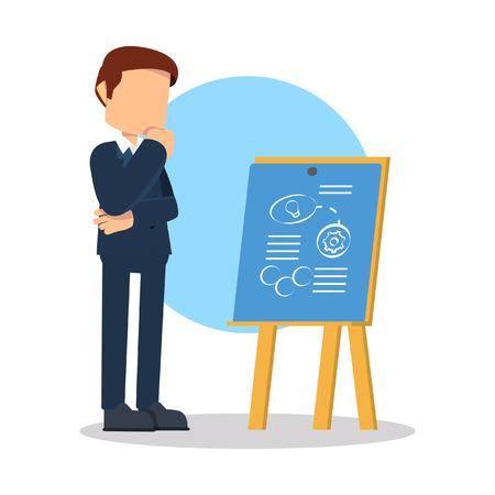 master: businessman making master plan