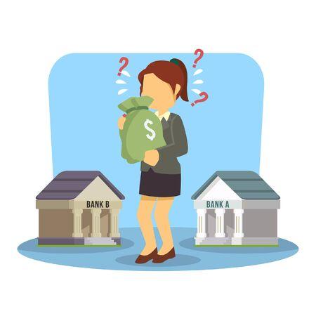 choosing: businesswoman confused choosing bank