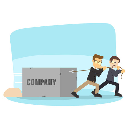 pulling: boss helping his worker pulling company
