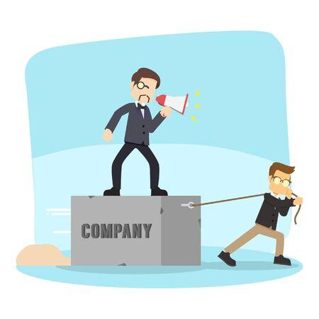 pulling: business man pulling company boss