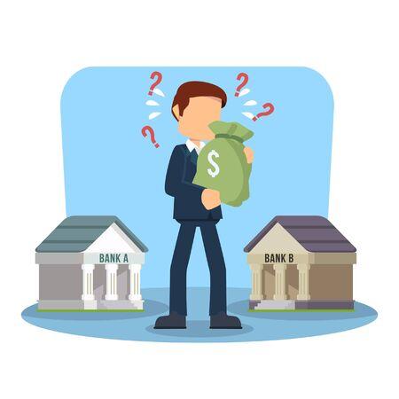 choosing: businessman confused choosing bank