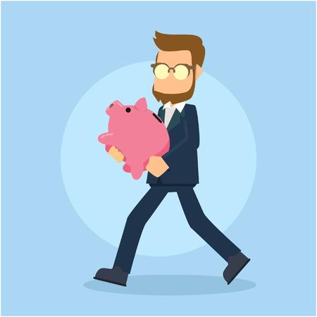 businessman walking: businessman walking carrying piggybank