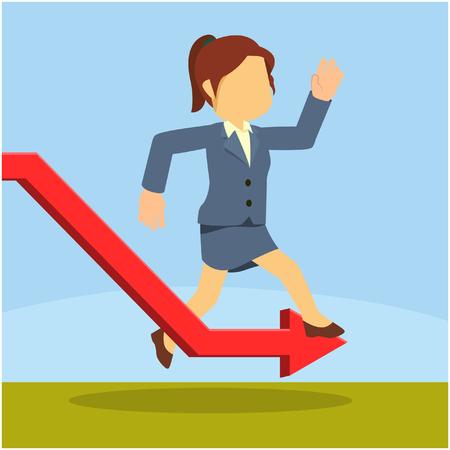 businesswoman avoiding down graphic