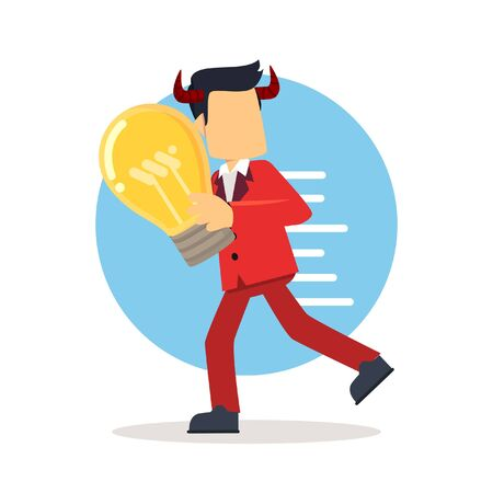 stealing: evil businessman stealing idea bulb Illustration