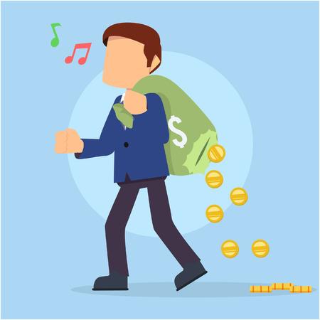 holed: businessman walking carrying holed money bag