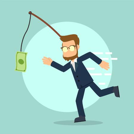 businessman running catching money