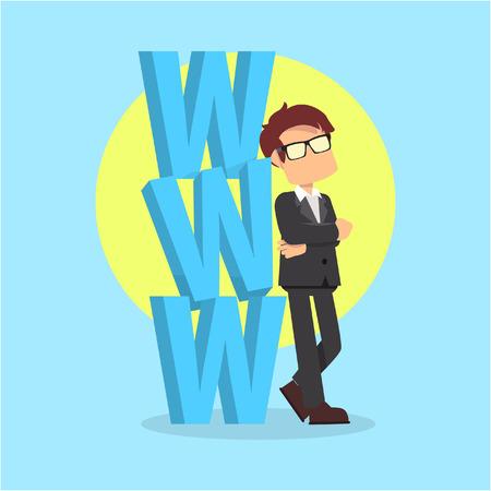 businessman with www word