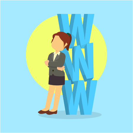 businesswoman with www word Illustration