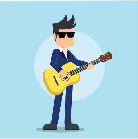 businessman playing guitar Illustration