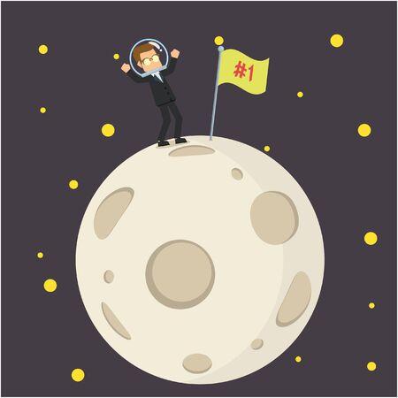 empresario poniendo primera bandera en la luna