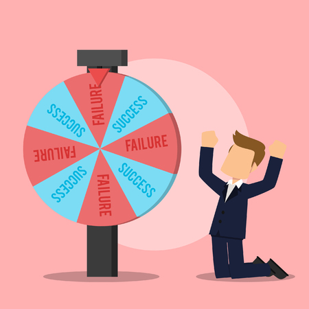 businessman kneeing over a failure result of wheel of fortune Illustration