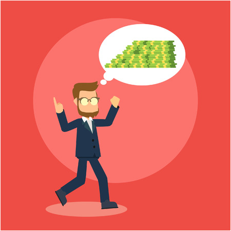 person thinking: businessman thinking about money