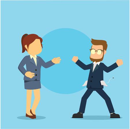 businesswoman asking money to broke businessman
