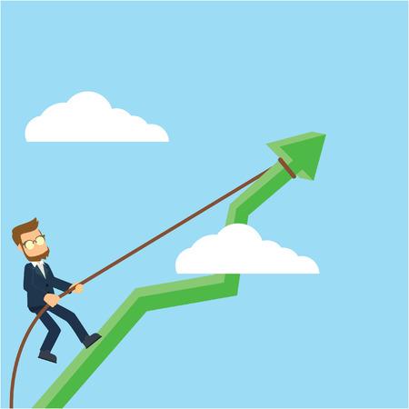 businessman climbing raising diagram