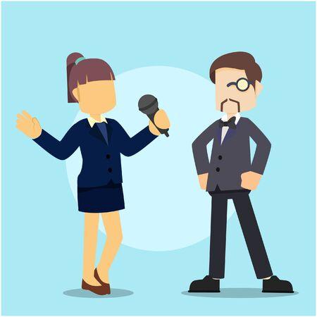 reporter interviewing rich businessman Illustration