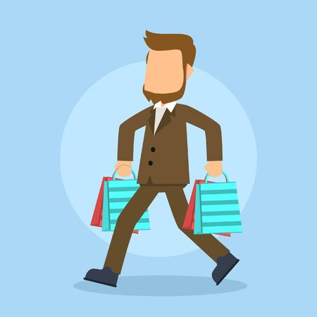 carrying: businessman carrying shopping bag Illustration