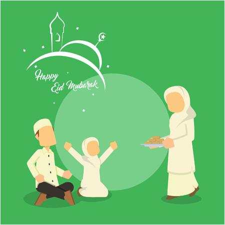 イスラム教徒の家族の再会  イラスト・ベクター素材