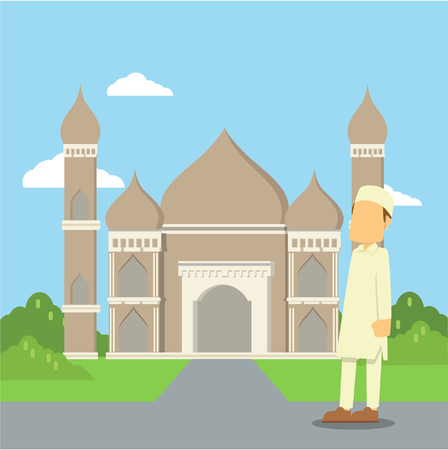muslim man going to mosque Illustration