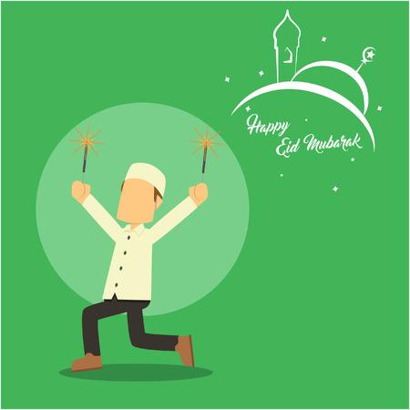firecracker: muslim boy playing firecracker