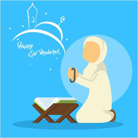 muslim woman doing dzikr Illustration