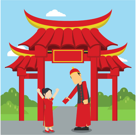 bao: chinese man giving hang bao to his daughter Illustration