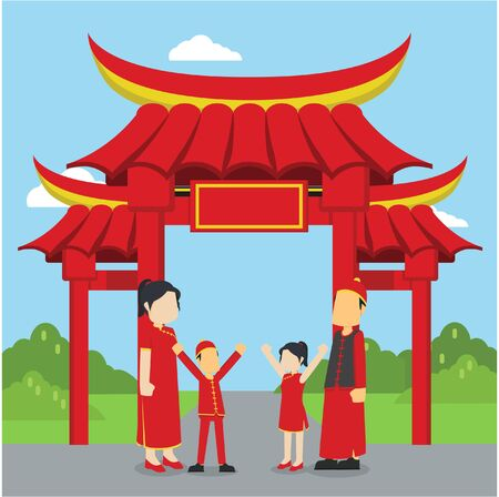 chinese family standing in front of chinese gate Illustration