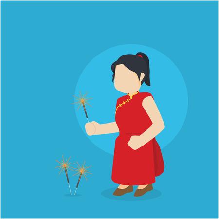 chinese girl playing firecracker