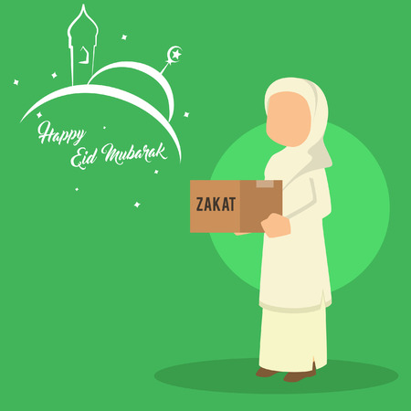 muslim woman asking for zakat Illustration