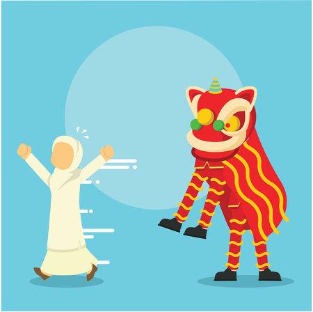 muslim girl running away scared of dragon dancer Illustration