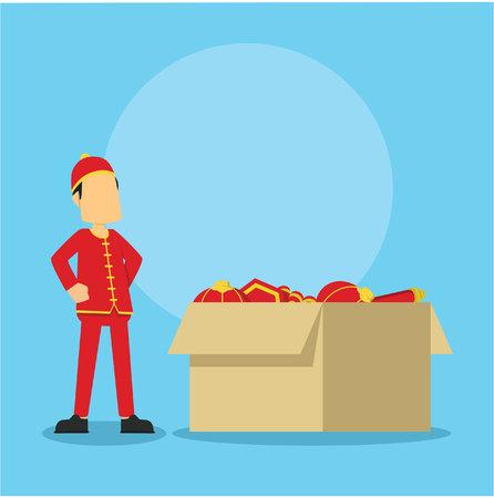 hombre chino y gran caja llena de cosas chinas
