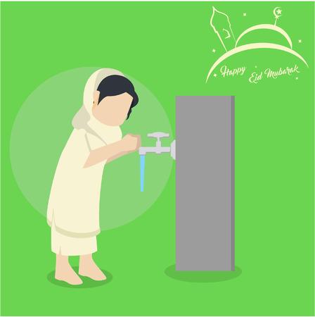 moslimvrouw die wudu doet Stock Illustratie