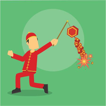 firecracker: chinese man running playing firecracker