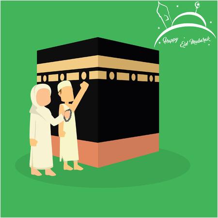 moslimman en vrouw die kaaba bezoeken