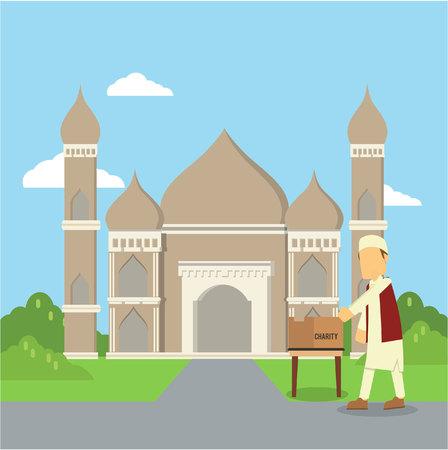 alms: muslim man giving charity