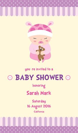 Girl baby shower invitation card with a cute baby girl cartoon girl baby shower invitation card with a cute baby girl cartoon with pink background stock vector filmwisefo