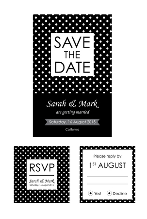 rsvp: Classic Wedding Invitation And RSVP Cards Collection With Black And White Polka Dot Background Illustration