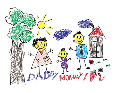 Cute Childrens Drawing Of A Happy Family And With A Text Daddy Mommy I Love You