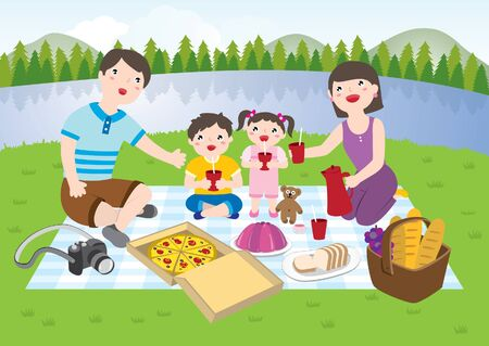 Happy Family Having A Picnic In The ParkHappy Family Of 4 Members Having A Picnic Together In The Park During The Day. Dad, Mom, Daughter And Son Sitting On The Grass. Mom Serving Drinks. Vector Flat Cartoon Illustration.  イラスト・ベクター素材