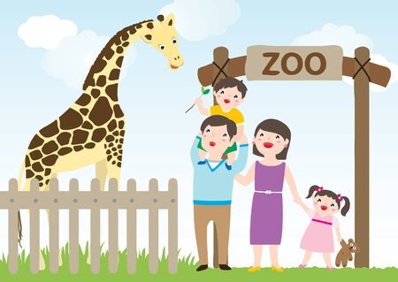 Happy Family Visiting Zoo, GiraffeFamily Having Fun Time Visiting Zoo During The Day. Father, Mother, Daughter And Son Looking At The Giraffe. Dad Carries His Boy Piggyback. Son Feeding The Giraffe. Vector Flat Cartoon Illustration.  イラスト・ベクター素材