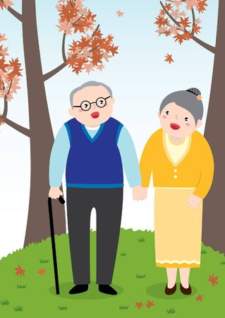 Drawing OF A Lovely Elderly Couple Holding Hands And Walking Together In The Park During Autumn Season. Vector Flat Cartoon Illustration.  イラスト・ベクター素材